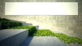 3d ecology concept, grass and blank billboard. 3d ecology concept, green grass on stairs and blank street advertising billboard Royalty Free Stock Image