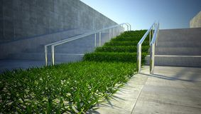 3d ecology concept, grass and stairs on street Royalty Free Stock Images