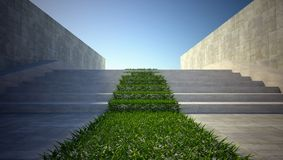 3d ecology concept, grass and stairs on street Stock Photo
