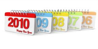 3D eenvoudige 2006 tot de Kalender van 2010 royalty-vrije illustratie