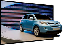 3D effect met auto die uit komt Stock Foto's