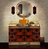 3D eines Badezimmer Marmor-Oberseite Bassins Lizenzfreies Stockfoto