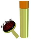 3D eines Haar-Sprays und des Pinsels (antike Art) Lizenzfreie Stockfotos