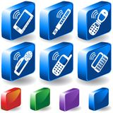 3D Electronic Buttons. Set of 6 3D Electronic Device Buttons Royalty Free Stock Photos