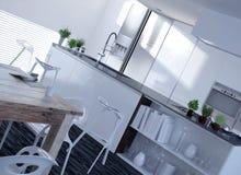 3D Elegant Architectural Home Kitchen Design Royalty Free Stock Image
