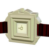 3D of an Elegant Leather hand Wrist Watch. Champaign Chrome Closeup 3D of an Elegant Red Leather hand Wrist Watch isolated and cutout on a white background Stock Photography