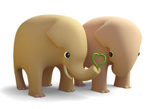 3D elephant couple in love Royalty Free Stock Images