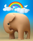 3D elephant a happy day outdoors Stock Photography