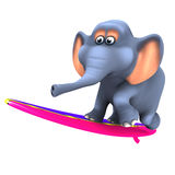 3d Elephant surfer Royalty Free Stock Photos
