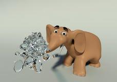 3D Elephant throws water Stock Photos