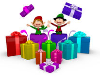 3D Elves with Christmas presents Stock Images