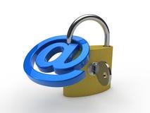 3d email błękitny kłódka Fotografia Royalty Free