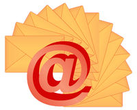 3d email sign. Over fan-shaped letters Royalty Free Stock Image