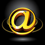3D Email Symbol. A 3D illustration of a shiny yellow Email '@' symbol Stock Photos