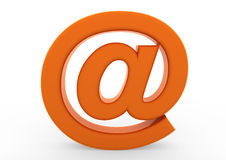3d email symbol orange Stock Photos