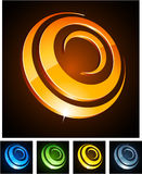 3d emblems runt Royaltyfria Bilder
