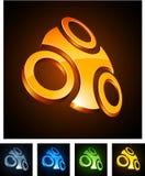 3d emblems vibrerande royaltyfri illustrationer