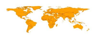 3d embossed countries borders worldmap Royalty Free Stock Image