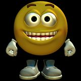 3D emoticon. 3D rendered emoticon on black background isolated Stock Photography