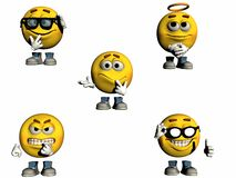 3d Emoticon Collection Part 2. A second collection of rendered 3d emoticons Stock Photography