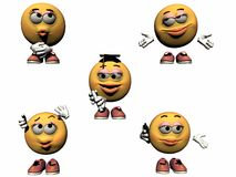 3d Emoticon Collection Part 5. A fifth collection of rendered 3d emoticons Stock Images