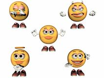 3d Emoticon Collection Part 6. A sixth collection of rendered 3d emoticons Royalty Free Stock Photography