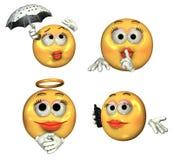 3D Emoticons grandes - meninas Imagens de Stock Royalty Free