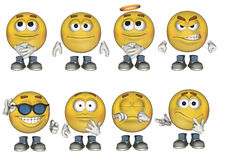 3D Emoticons set 1. Set of 8 3D emoticons Royalty Free Stock Photo