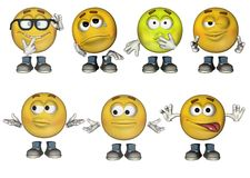 3D Emoticons set 2. Set of 7 3D Emoticons Royalty Free Stock Image