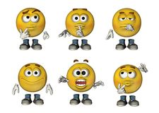 3D Emoticons set 3. Set of 6 3D Emoticons Royalty Free Stock Photography