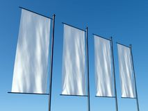 3d empty advertising flags or billboards Stock Photo