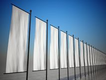 3d empty advertising flags or billboards Stock Photography