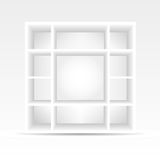 3d empty bookshelf. 3d empty white bookshelf perfect for advertising Royalty Free Stock Photography