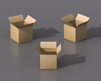 3D empty boxes Stock Images