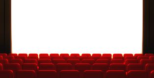 3d Empty cinema screen with auditorium Royalty Free Stock Photography