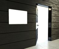 3d empty frame and open door Royalty Free Stock Photo