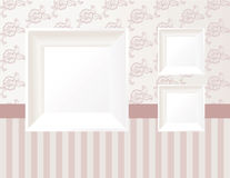 3d empty frame on the wall. Vintage background Stock Photos