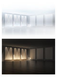 3D empty frames in a room. 3D empty frames in a gallery room. 3d render. Night and day variations Royalty Free Stock Images
