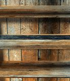3d empty grunge wood shelf Royalty Free Stock Photography