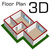 3D empty house floor plan Royalty Free Stock Photo