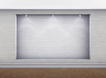3d empty niche with spotlights in the gallery Royalty Free Stock Images