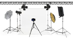 3d empty photo studio interior with equipment Royalty Free Stock Photo