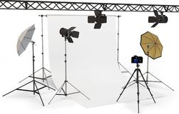 3d empty photo studio interior with equipment Royalty Free Stock Photography
