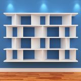 3d Empty shelves for exhibit. Isolated on white Royalty Free Stock Photos