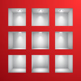 3d Empty shelves for exhibit in the wall. Vector illustration Stock Photos
