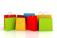 3d empty shopping bags. 3d empty shopping bag, on white background Royalty Free Stock Photos