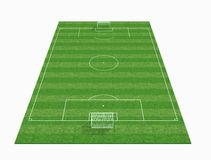 3d Empty soccer field. Perspective view of an empty soccer field -3d renderig Stock Images
