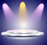 3d Empty white podium with color light Royalty Free Stock Image