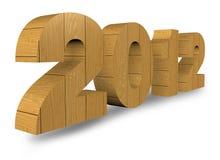 3D en bois rendent 2012 ans sur un blanc Images libres de droits