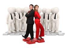 3d en echt mensen commercieel team op raadsel Stock Foto